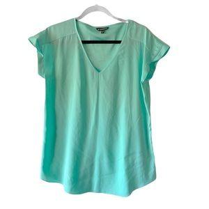 Express Women's Teal V-Neck Short Sleeve Blouse